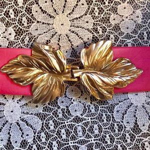 Vintage Gold Leaf Pink Belt
